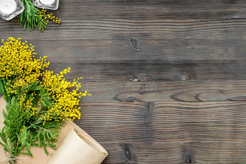 Concept International Women Day with flowers wooden background top view. Concept International Women Day with flowers on wooden background top view mock up royalty free stock images