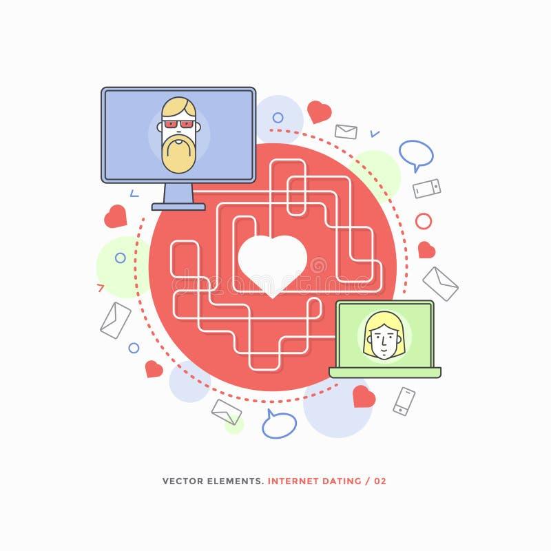 Concept Internet die, online mededeling dateren Man en vrouw die liefde door het dateren van plaats hebben gevonden stock illustratie