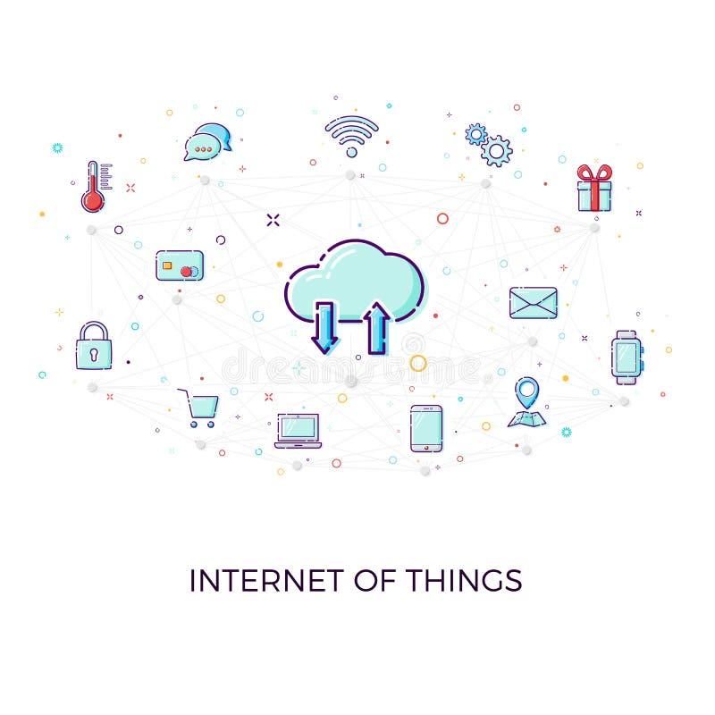 Concept Internet dingen Het concept van het wolkennetwerk voor aangesloten slimme apparaten Vectorillustratie van de verbindingen vector illustratie