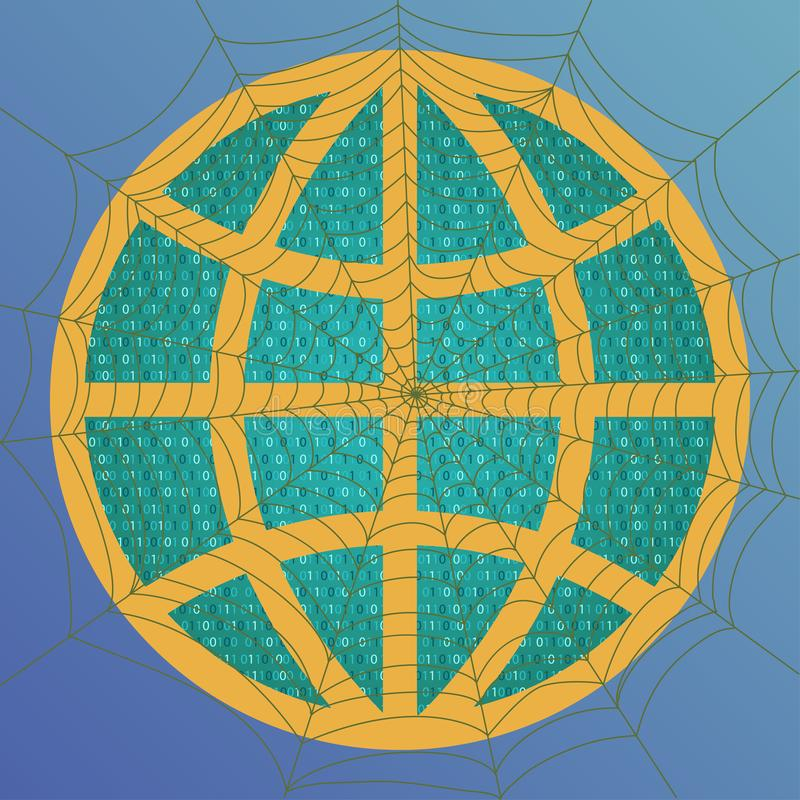 Concept of internet. Globe with binary code and spiderweb. Vector vector illustration