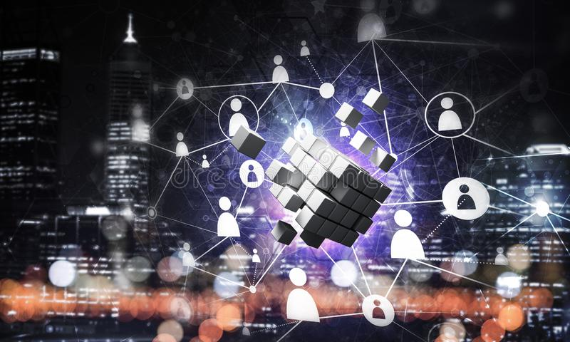 Concept of Internet and networking with digital cube figure on dark background. Conceptual background image with cube figure and social connection lines. 3d vector illustration