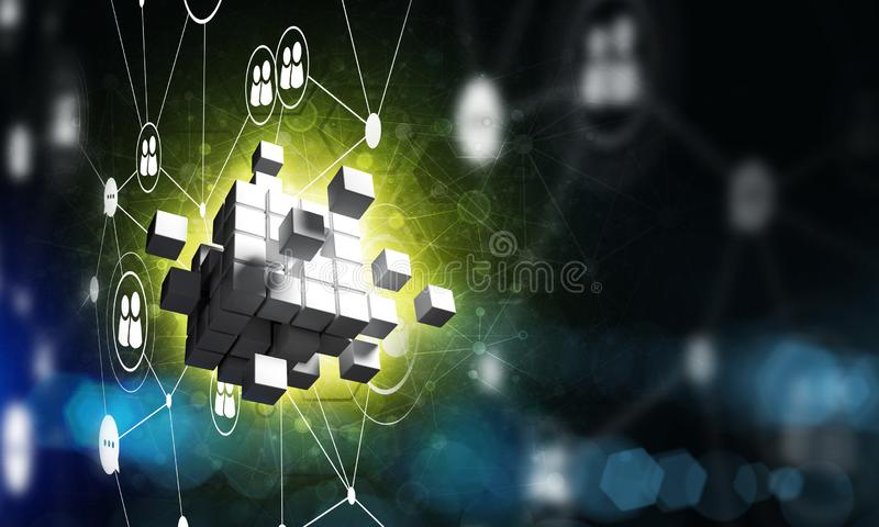 Concept of Internet and networking with digital cube figure on dark background. Conceptual background image with cube figure and social connection lines. 3d stock illustration