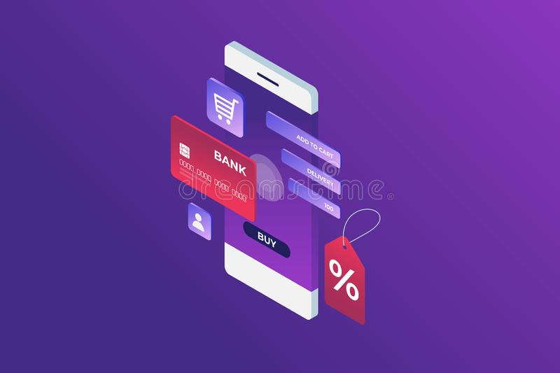 Concept of Internet payment, mobile purchase. Online shopping. Isometric image of phone, Bank card and discount label on blue background. 3d flat design. Vector vector illustration
