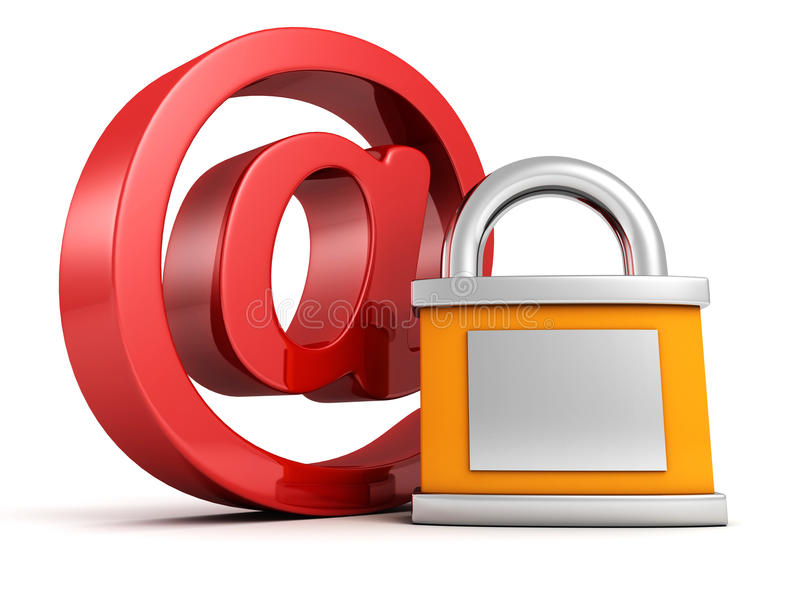 Concept internet security: red at e-mail symbol with padlock royalty free illustration