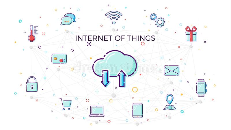 Concept Internet of things. Cloud network concept for connected smart devices. Vector illustration of IoT and network connections. Icons in white background vector illustration