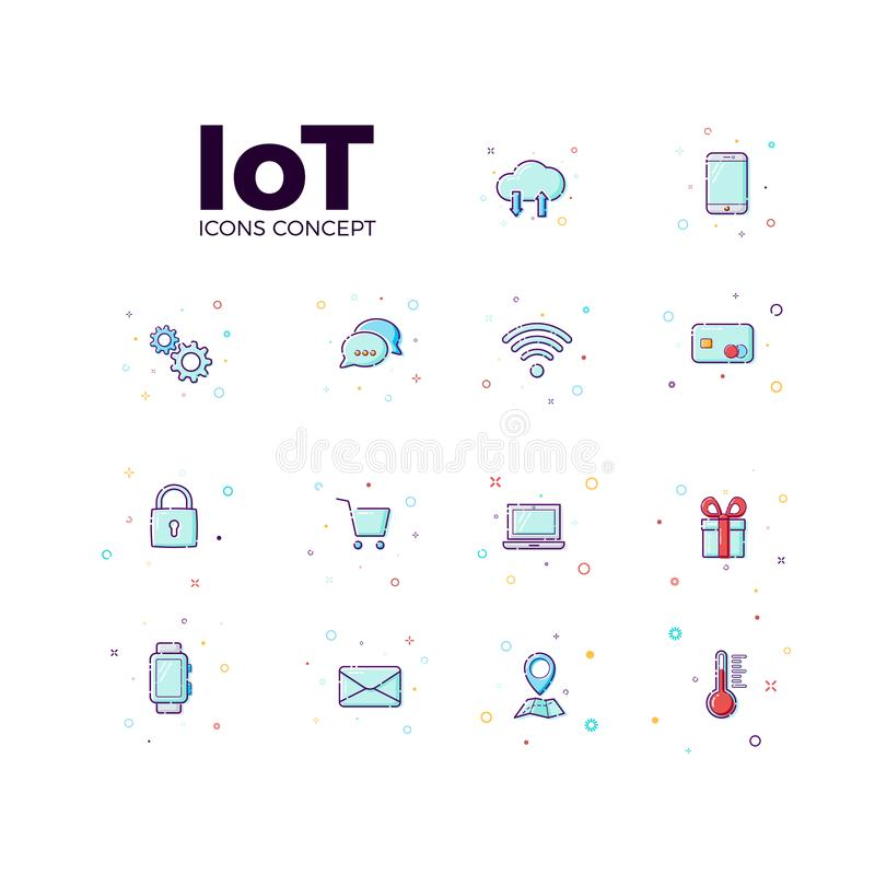Concept Internet of things icons. Vector illustration icons of iot in white background vector illustration