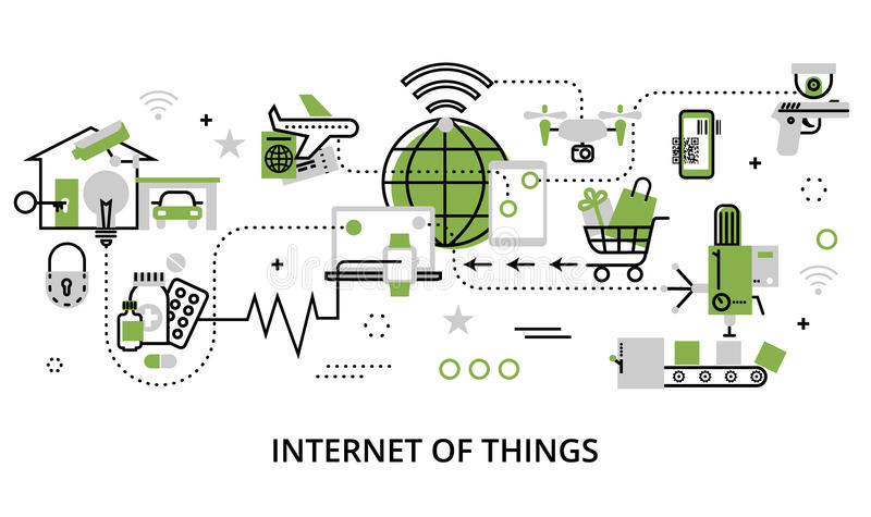 Concept of internet of things. Modern flat line design vector illustration, concept of internet of things, in greenery color, for graphic and web design stock illustration
