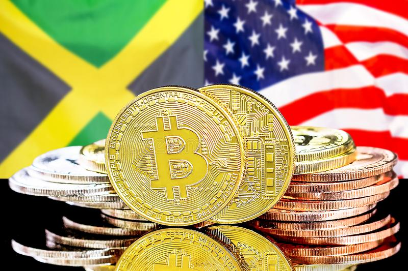 Bitcoins on Jamaica and US flag background. Concept for investors in cryptocurrency and Blockchain technology in the Jamaica and United States of America royalty free stock photo