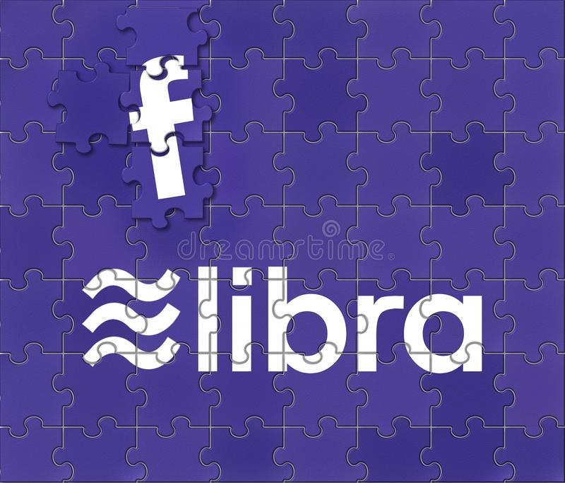 Concept for the involvement of Facebook in the proposed Libra cybercurrency partnership royalty free stock photo