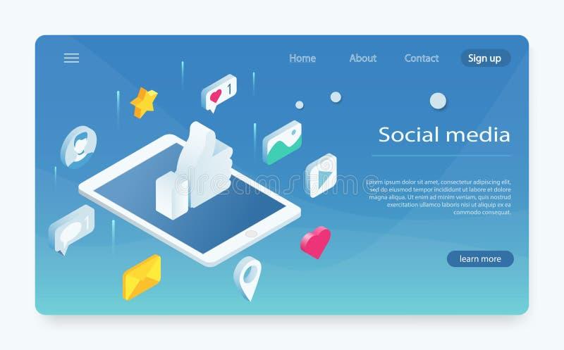 Concept isométrique avec le téléphone portable et la causerie Le réseau social aiment l'icône illustration de vecteur