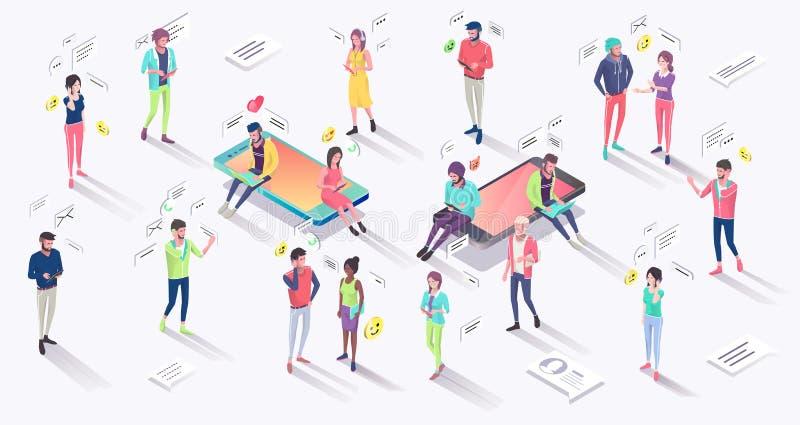Concept isométrique avec le téléphone portable, les personnes et l'avis de poussée illustration libre de droits