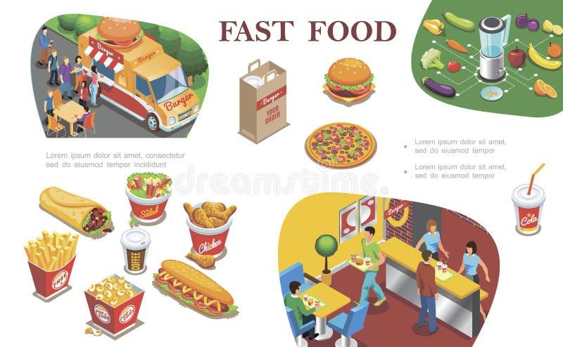 Concept isométrique d'aliments de préparation rapide illustration stock