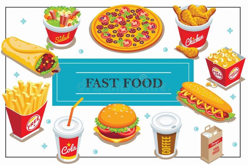 Concept isométrique d'aliments de préparation rapide illustration libre de droits