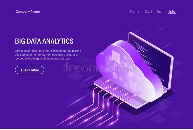 Concept isom?trique d'Analytics de Big Data Calcul de nuage Transmission en continu Illustration Editable de vecteur illustration stock