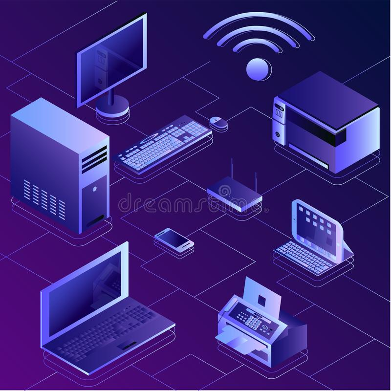 Concept isométrique d'EL moderne de services et de calcul de connexion illustration de vecteur