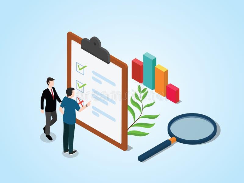 Concept isométrique d'enquête avec des enquêtes de personnes et de liste de contrôle sur le presse-papiers de papier avec l'o illustration libre de droits
