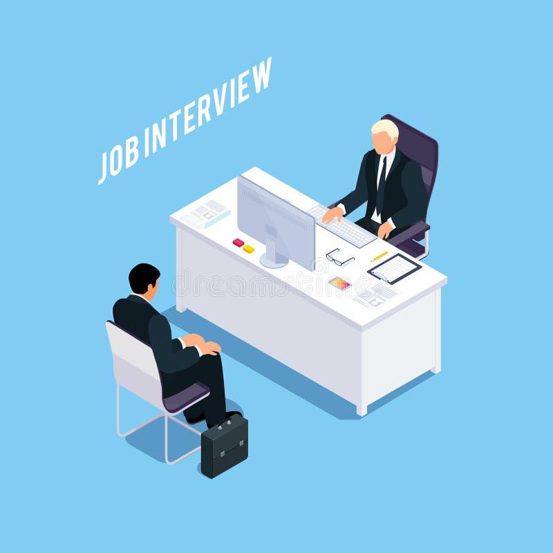 Concept isométrique d'entrevue d'emploi illustration de vecteur