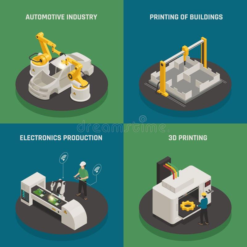 Concept isométrique d'icônes de fabrication futée illustration libre de droits