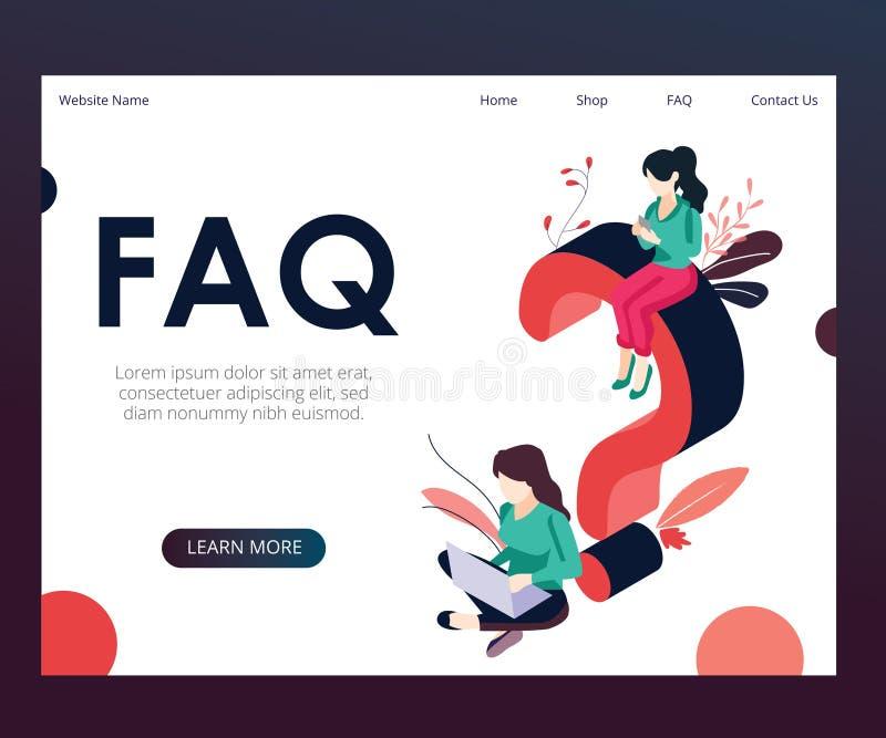 Concept isométrique d'illustration de FAQ où 2 personnes ou plus ont un entretien illustration de vecteur