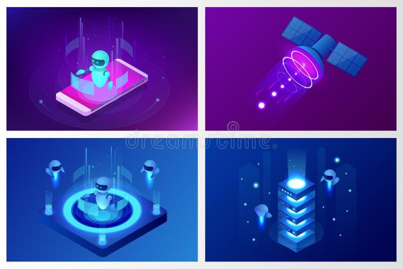Concept isométrique d'intelligence artificielle Technologie et ingénierie Enseignement et étude en monde de Digital Digitals illustration stock