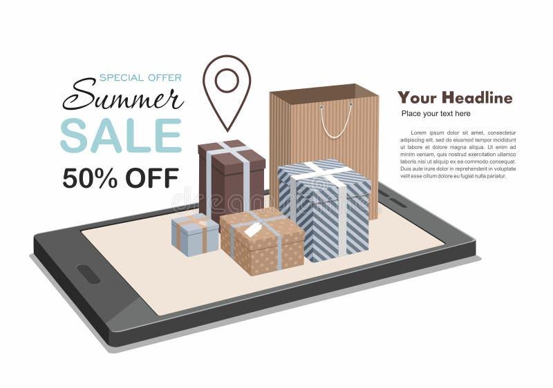 Concept isométrique de achat en ligne mobile Vente de Digital, achetant dans le magasin en ligne illustration libre de droits
