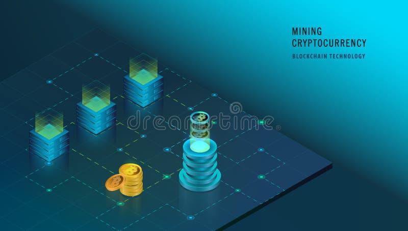 Concept isométrique de Cryptocurrency et de Blockchain illustration libre de droits