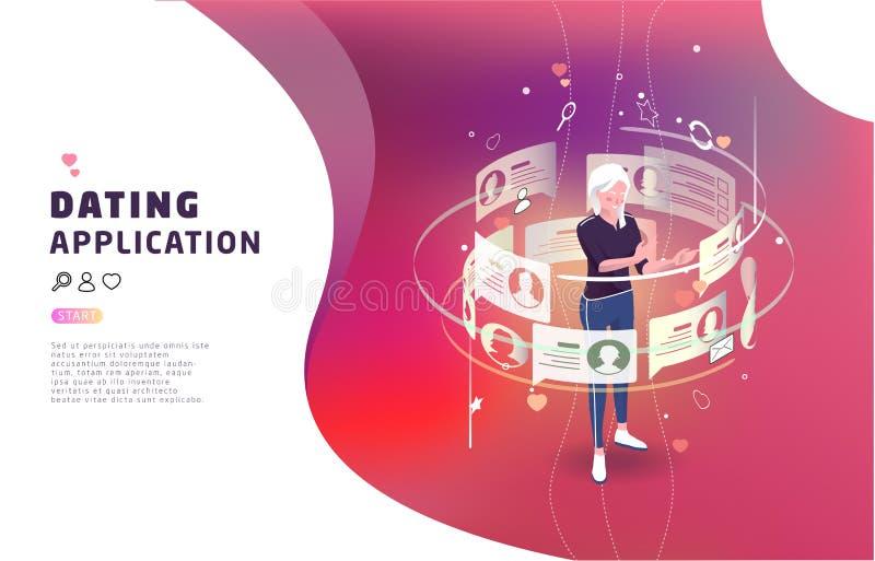 Concept isométrique de dater en ligne et communication virtuelle illustration stock