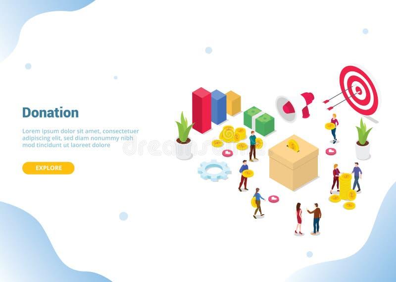 Concept isométrique de donation de personnes pour la page d'accueil d'atterrissage de calibre de site Web ou la bannière - vecteu illustration libre de droits