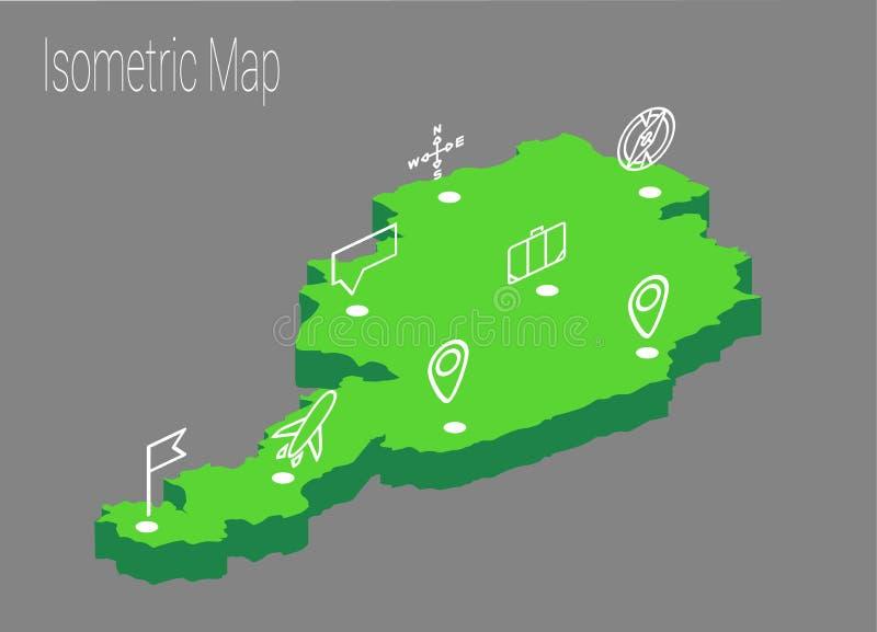 Concept isométrique de l'Autriche de carte illustration de vecteur