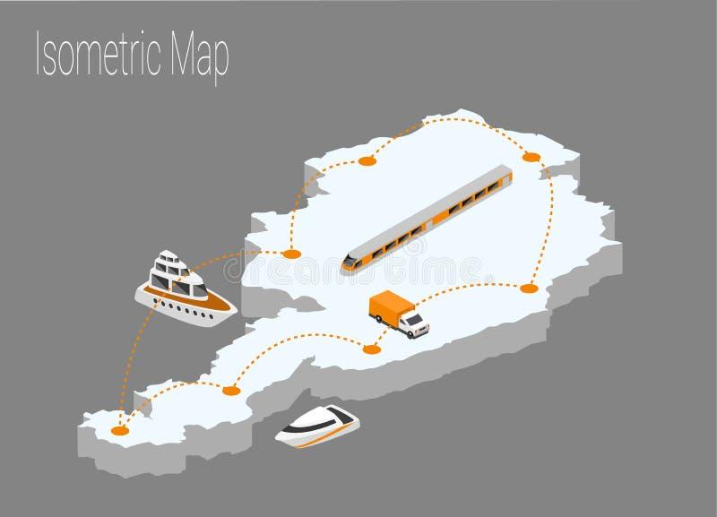 Concept isométrique de l'Autriche de carte illustration stock
