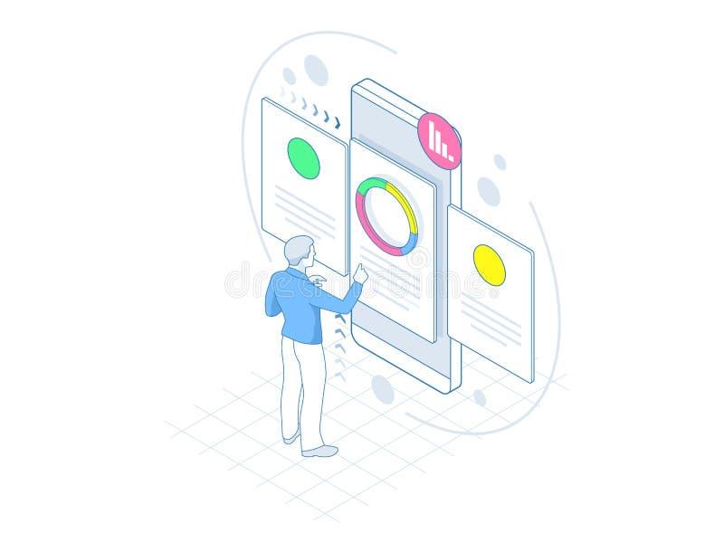 Concept isométrique de location et de recrutement pour la page Web, bannière, présentation Entrevue d'emploi, vecteur d'agence de illustration libre de droits