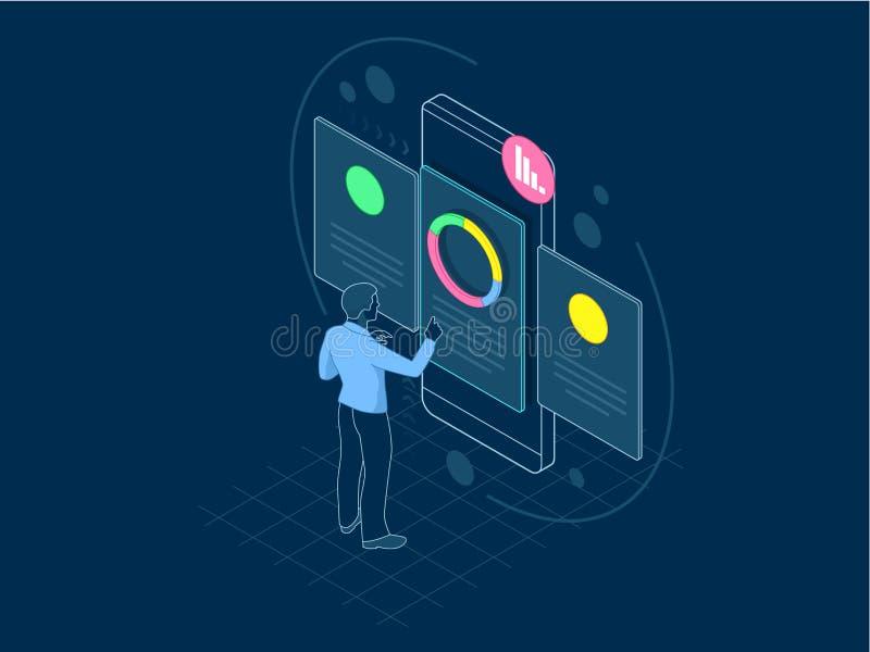Concept isométrique de location et de recrutement pour la page Web, bannière, présentation Entrevue d'emploi, vecteur d'agence de illustration stock