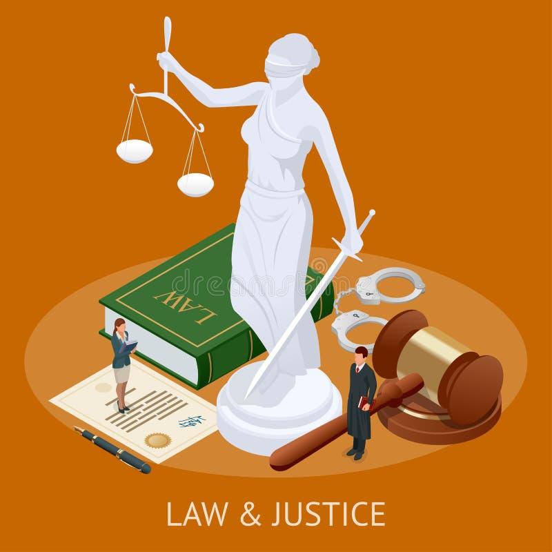 Concept isométrique de loi et de justice Thème de loi, maillet du juge, échelles de justice, livres, statue de vecteur de justice illustration de vecteur