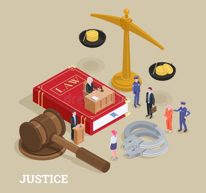 Concept isométrique de loi de justice illustration de vecteur
