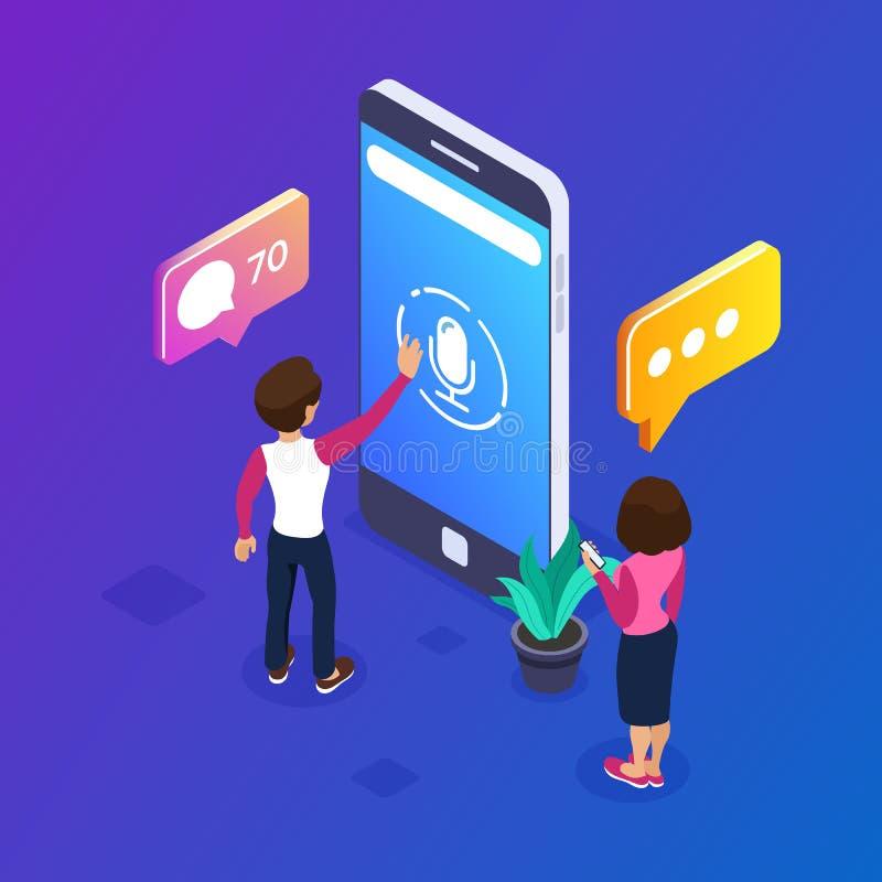 concept isométrique de message de la voix 3d Utilisez votre téléphone pour échanger des messages de voix Les gens communiquent ut illustration stock