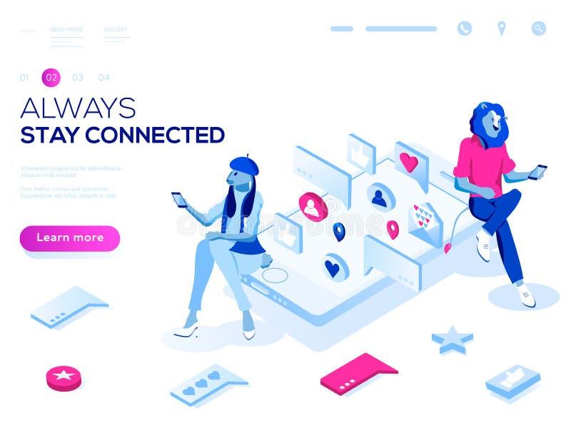 Concept isométrique de page d'atterrissage du vecteur 3d Relations virtuelles, en ligne dater et illustration sociale de mise en  illustration libre de droits
