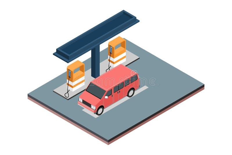 Concept isométrique de poste d'essence blanc d'isolement de gaz de fond - illustration de vecteur illustration de vecteur