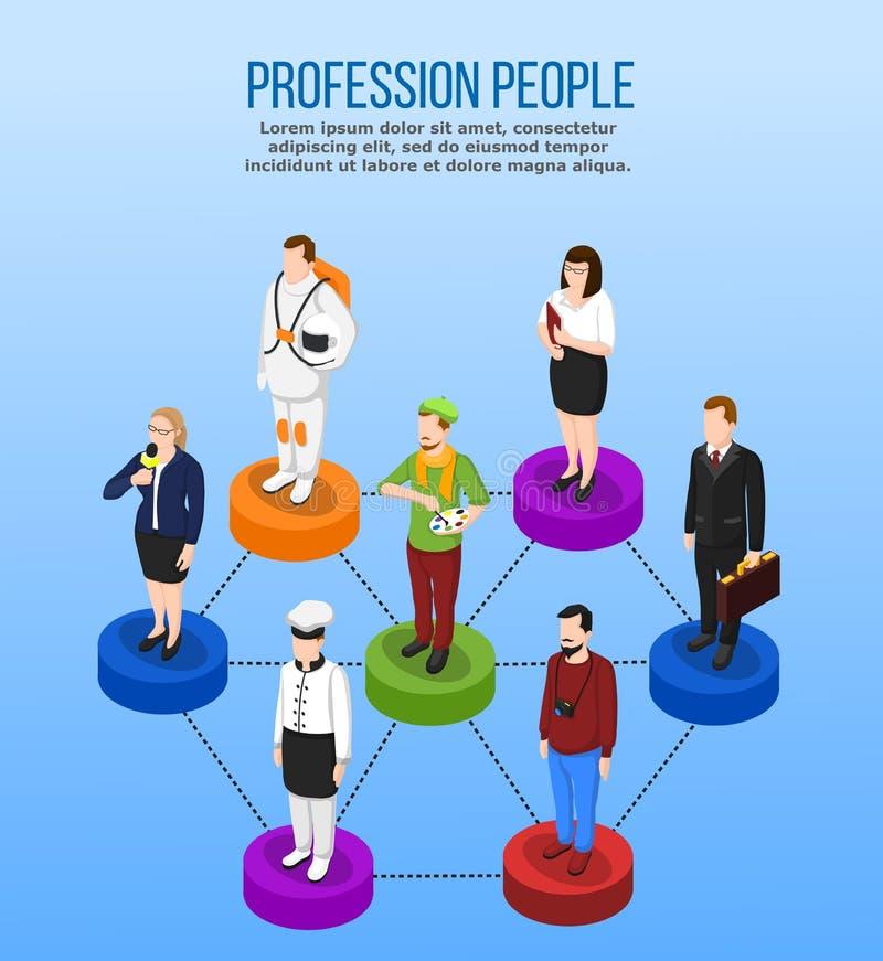 Concept isométrique de profession professionnelle illustration stock