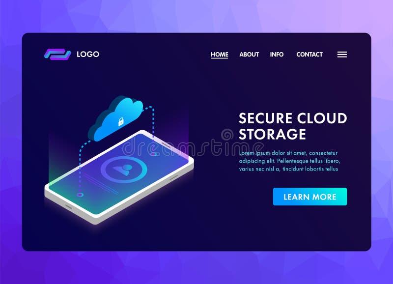 Concept isométrique de protection des données de stockage sûr de nuage pour l'en-tête de site Web, la bannière ou la page d'atter illustration stock