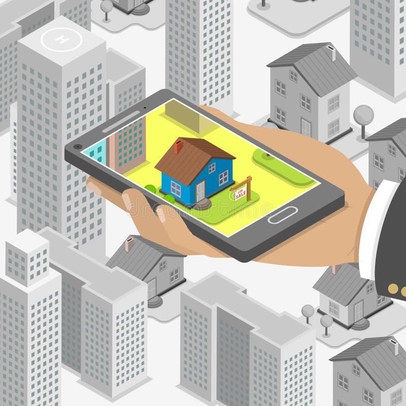 Concept isométrique de recherche en ligne d'immobiliers illustration libre de droits