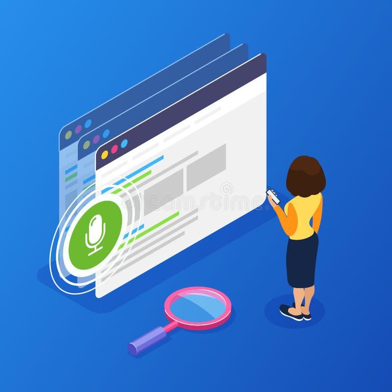 concept isométrique de recherche de la voix 3d Utilisant le téléphone pour la recherche de voix sur le site Web Interaction avec  illustration de vecteur
