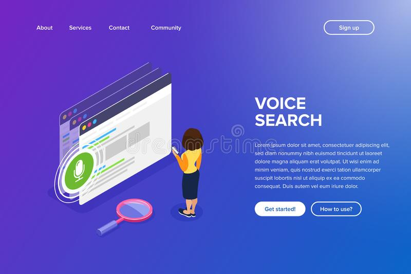 Concept isométrique de recherche de voix Utilisant le téléphone pour la recherche de voix sur le site Web Interaction avec un pér illustration libre de droits
