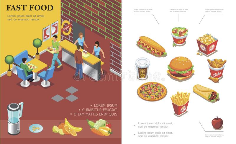 Concept isométrique de restaurant d'aliments de préparation rapide illustration de vecteur
