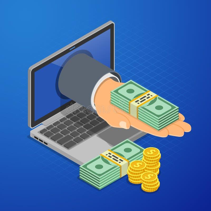 Concept isométrique de revenus en ligne d'Internet illustration libre de droits