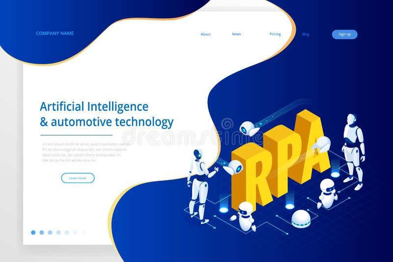 Concept isométrique de RPA, d'intelligence artificielle, d'automatisation des processus de robotique, d'AI dans le fintech ou de  illustration de vecteur