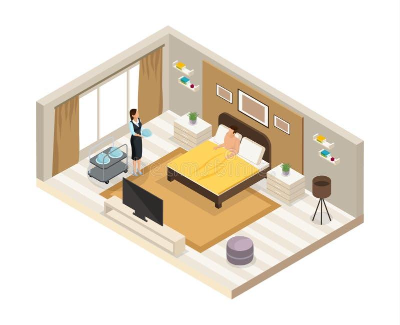 Concept isométrique de service hôtelier de petit déjeuner illustration stock