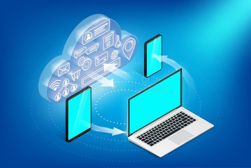 Concept isom?trique de services de nuage horizontal illustration stock
