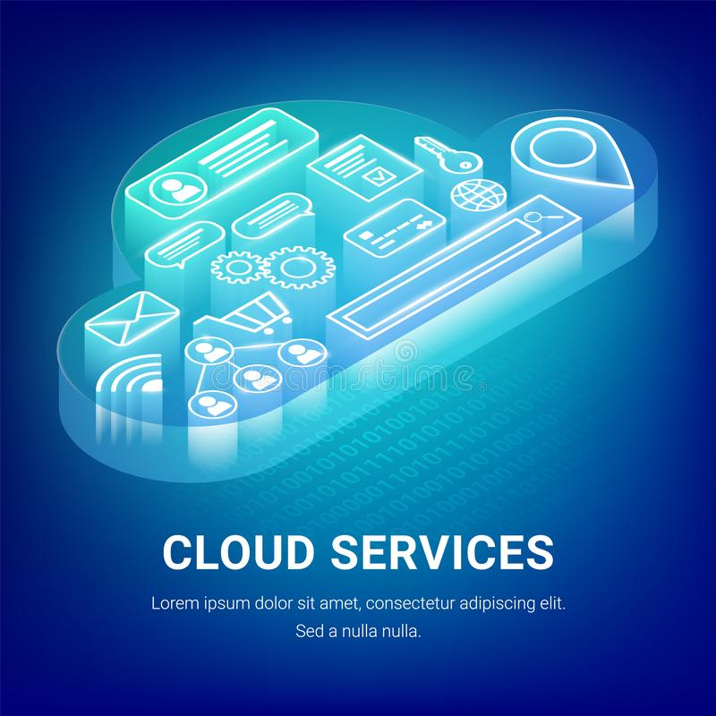 Concept isométrique de services de nuage illustration stock