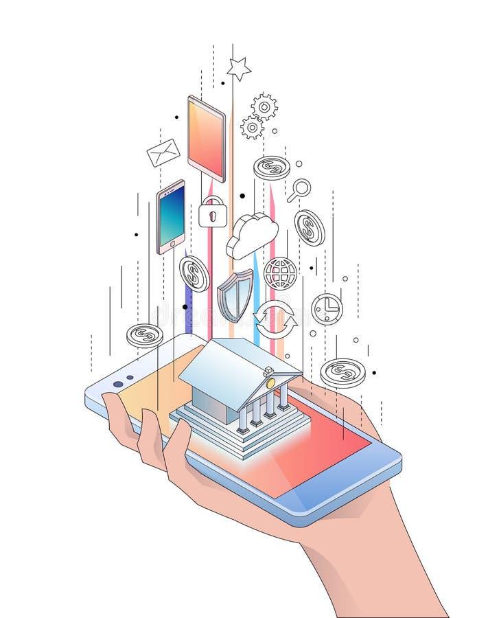Concept isométrique de smartphone avec des opérations bancaires mobiles illustration stock