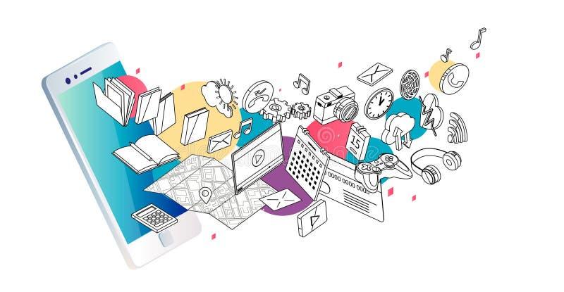 Concept isométrique de smartphone avec différentes applications, services en ligne et options stationnaires illustration stock